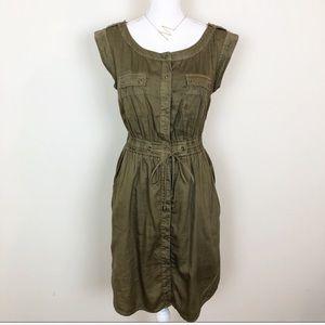 Anthropologie Hei Hei utility green dress